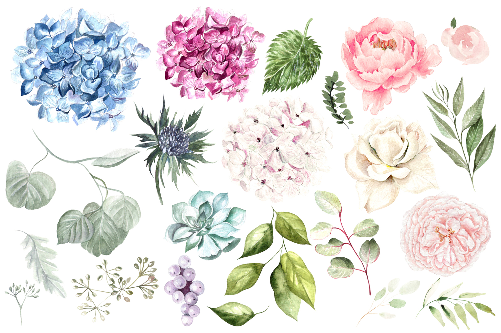 Hand Drawn Watercolor Flowers&Wreath