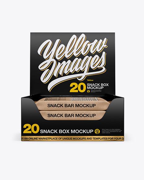 20 Snack Bars Glossy Box Mockup