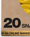 20 Snack Bars Kraft Box Mockup
