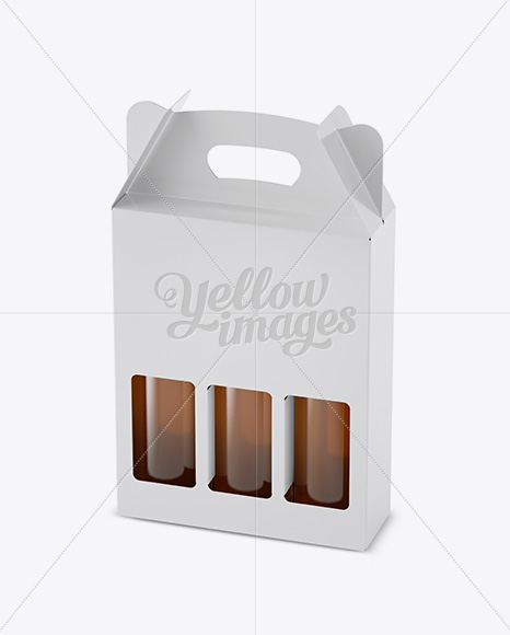Download White Paper 3 Pack Beer Bottle Carrier Mockup Halfside View High Angle Shot In Bottle Mockups On Yellow Images Object Mockups PSD Mockup Templates