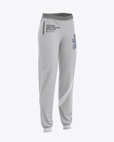 Women's Heather Cuffed Joggers - Front Half Side View