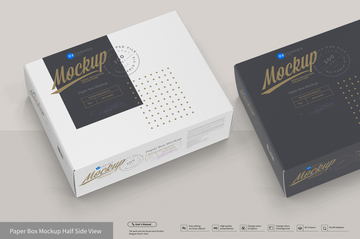 Presentation Of Cartoon Box Design Mockup In Packaging Mockups On