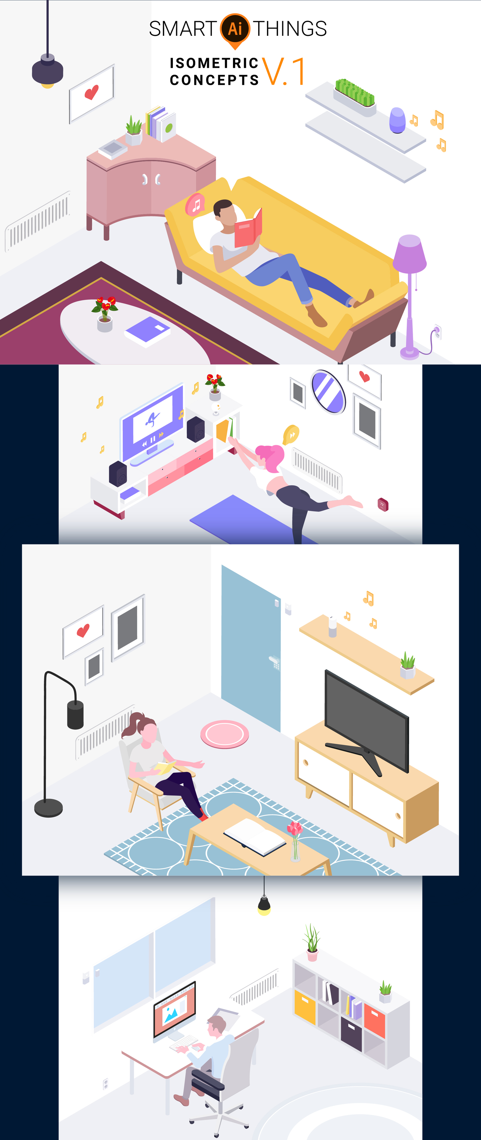 Smartthings Isometric v 1 in Illustrations on Yellow Images