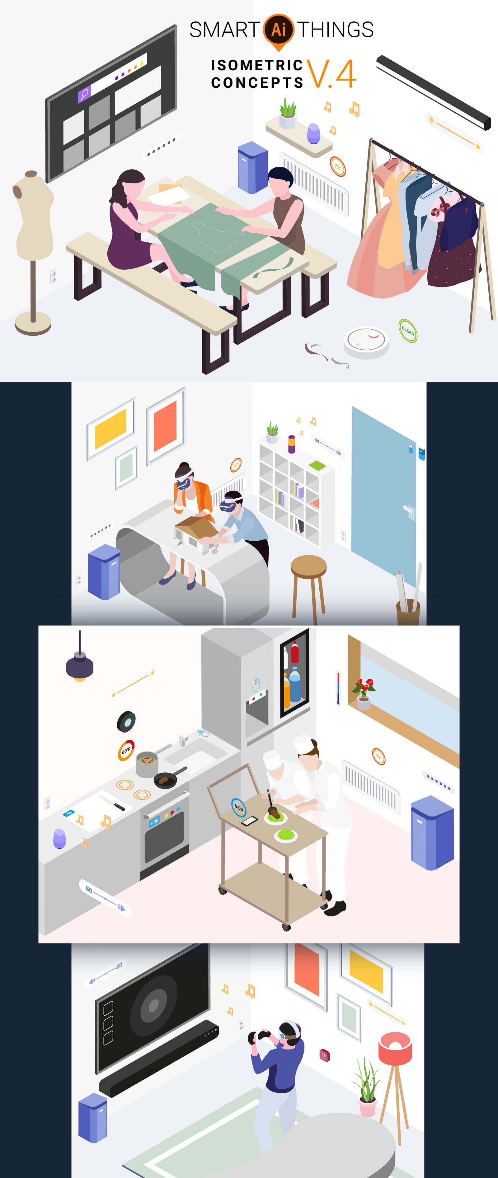 Smart Things Isometric Illustration Concept v.4