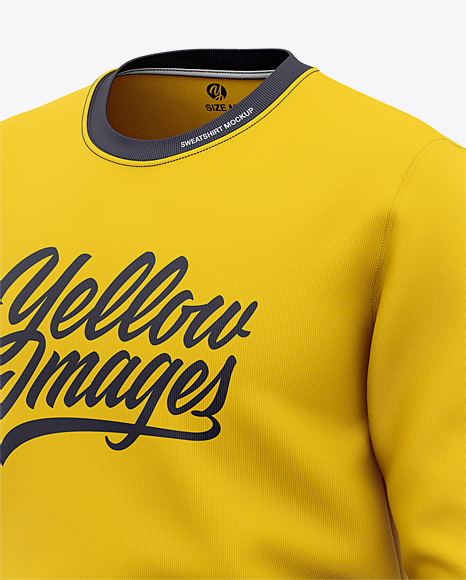 Download Mens Heather Crew Neck Sweatshirt Mockup Front Half Side View Of Sweater Yellowimages