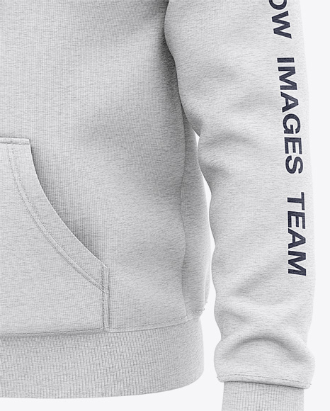 Men's Heather Pullover Hoodie - Front Half Side View Of Hooded Sweatshirt