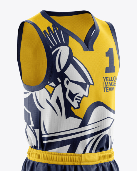 Download Full Basketball Kit W V Neck Tank Top Mockup Half Turned View Yellowimages