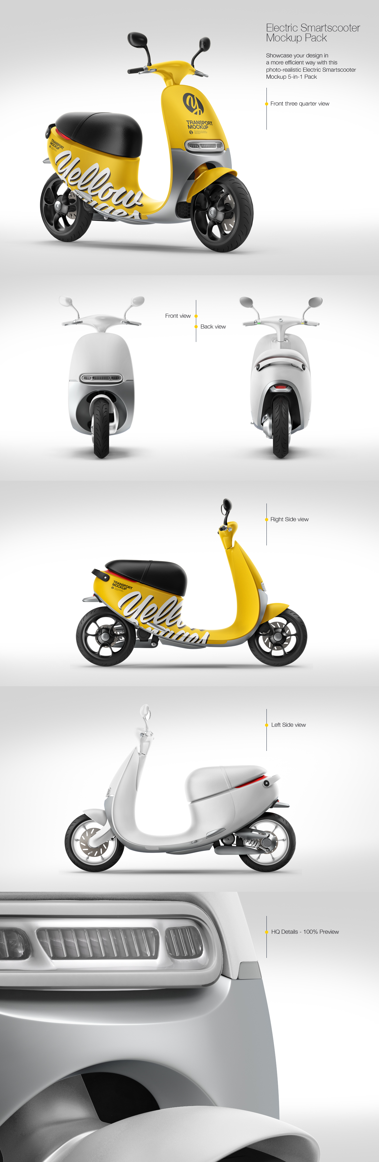 Electric Smartscooter Mockup Pack