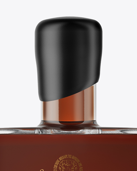 Square Black Rum Bottle with Wax Mockup