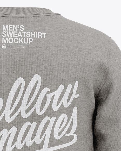 Men's Heather Crew Neck Sweatshirt - Back View