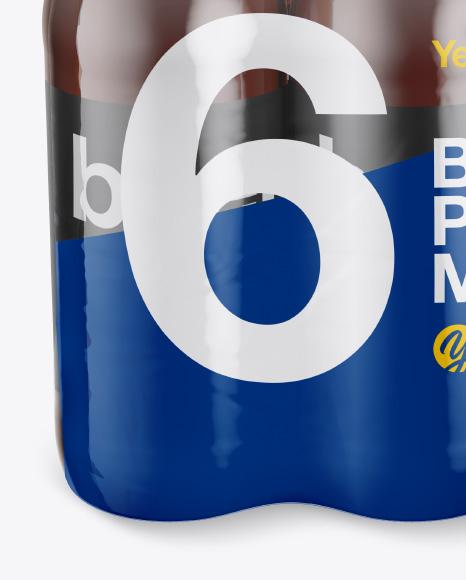 6 Amber Glass Bottles Pack Mockup