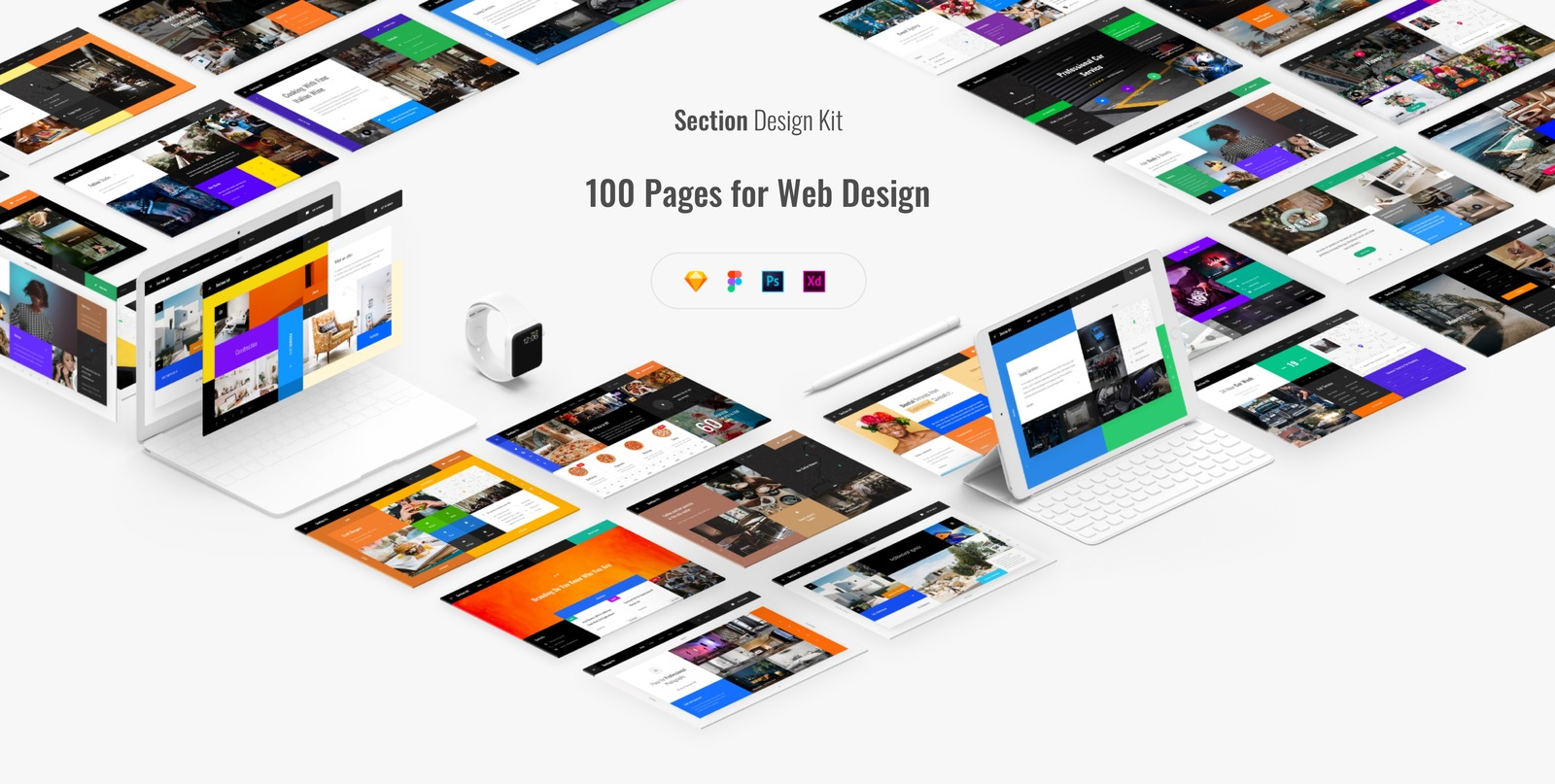 Section Desing Kit, 100 pages for Sketch, PSD, Figma, Adobe XD in