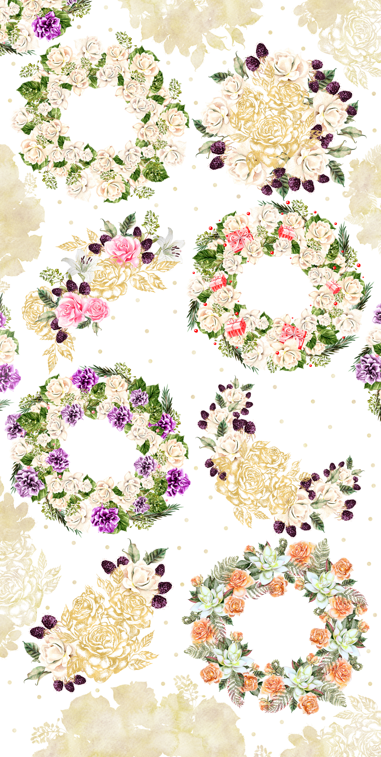 Hand Drawn Watercolor Wreath & Bouquets