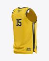 Men's V-Neck Basketball Jersey Mockup - Back Half Side View
