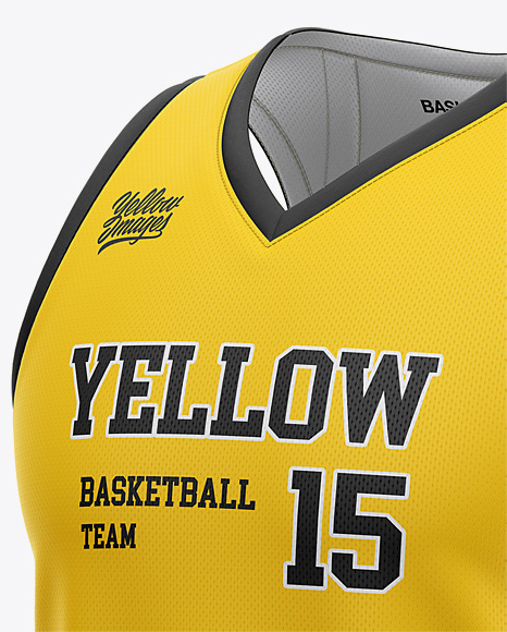 Download Basketball Jersey With V Neck Mockup Half Side View Yellowimages