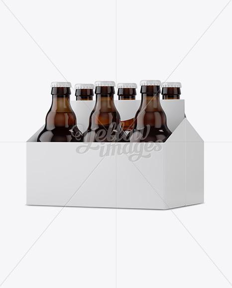 Download White Paper 6 Pack Amber Bottle Carrier Mockup Halfside View In Bottle Mockups On Yellow Images Object Mockups PSD Mockup Templates
