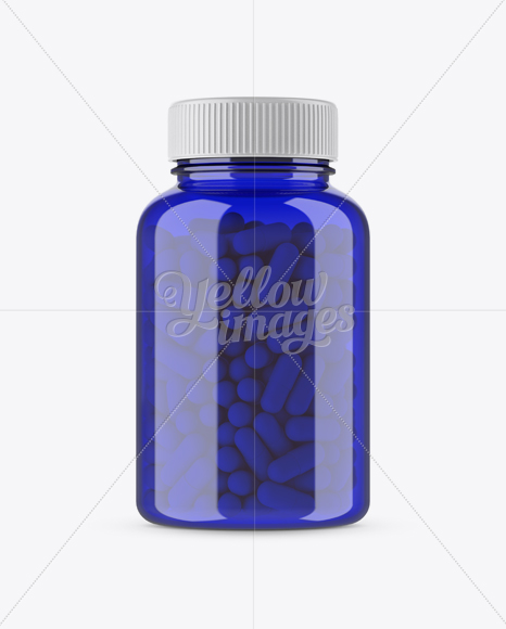 Download Blue Bottle With Capsules Mockup In Bottle Mockups On Yellow Images Object Mockups PSD Mockup Templates