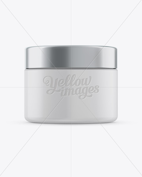 250ml Plastic Cosmetic Jar w/ Silver Matte Cap Mockup (Eye-Level Shot)