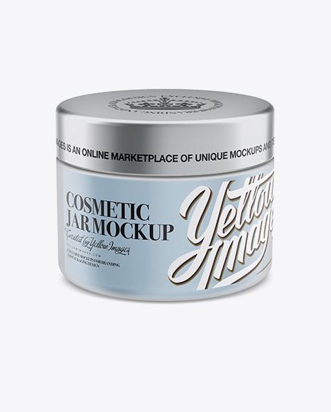 250ml Plastic Cosmetic Jar w/ Silver Matte Cap Mockup (High-Angle Shot)