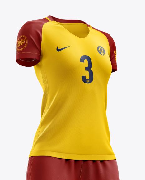 Women's Full Soccer Kit mockup (Hero Shot)