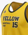 Men's U-Neck Basketball Jersey Mockup - Front Half Side View