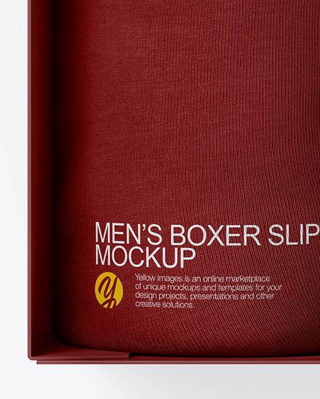 Box With 2 Men's Boxer Slips Mockup