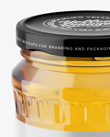 Glass Jar with Clear Honey Mockup
