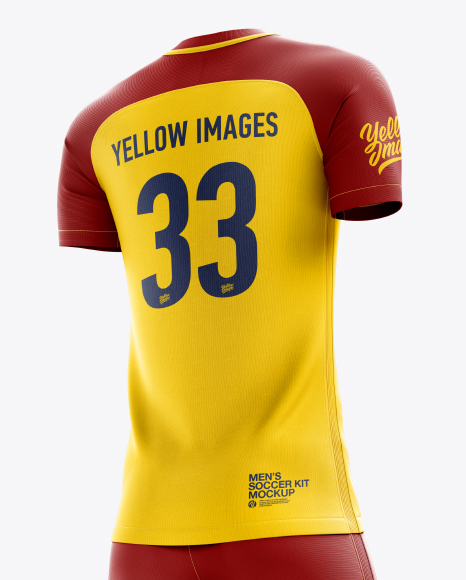 Download Lace Up Soccer T Shirt Mockup Halfside View Yellow Images
