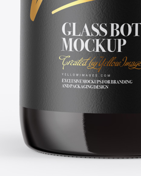 Amber Glass Bottle with Red Wine Mockup