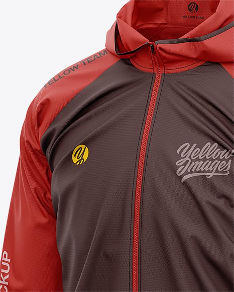Men's Lightweight Hooded Windbreaker Jacket - Front Half-Side View