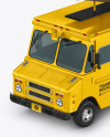 Foodtruck with Coffee Cup Mockup - Half Side View (High-angle Shot)