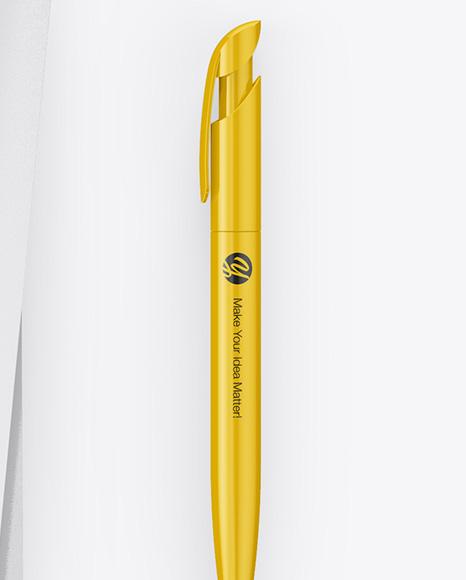 A4 Paper Sheets with USB Flash Drive & Pen Mockup