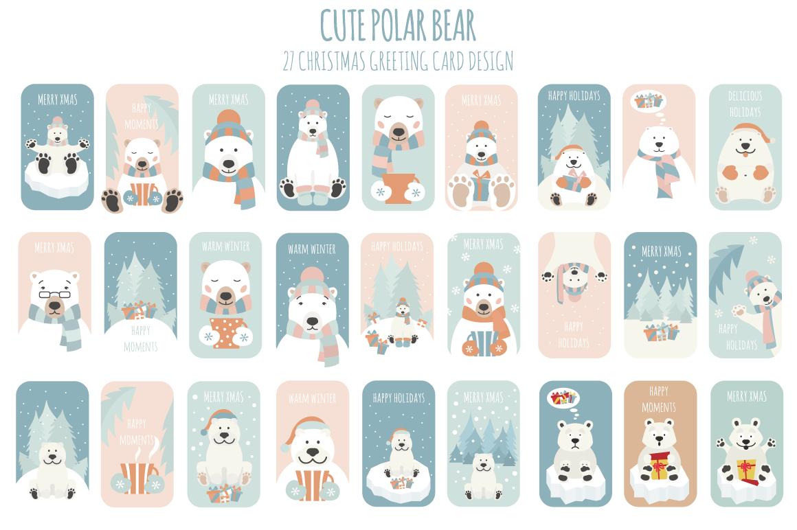 Cute polar bear Xmas collection