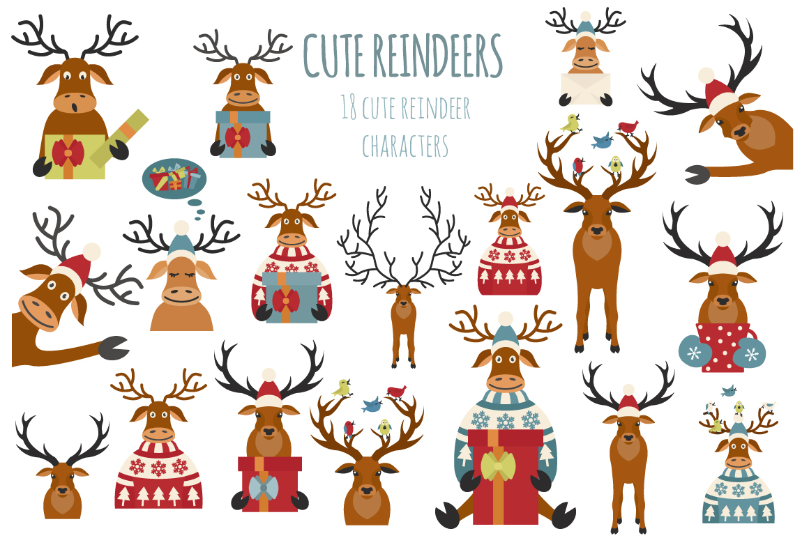 Cute reindeers Xmas collection