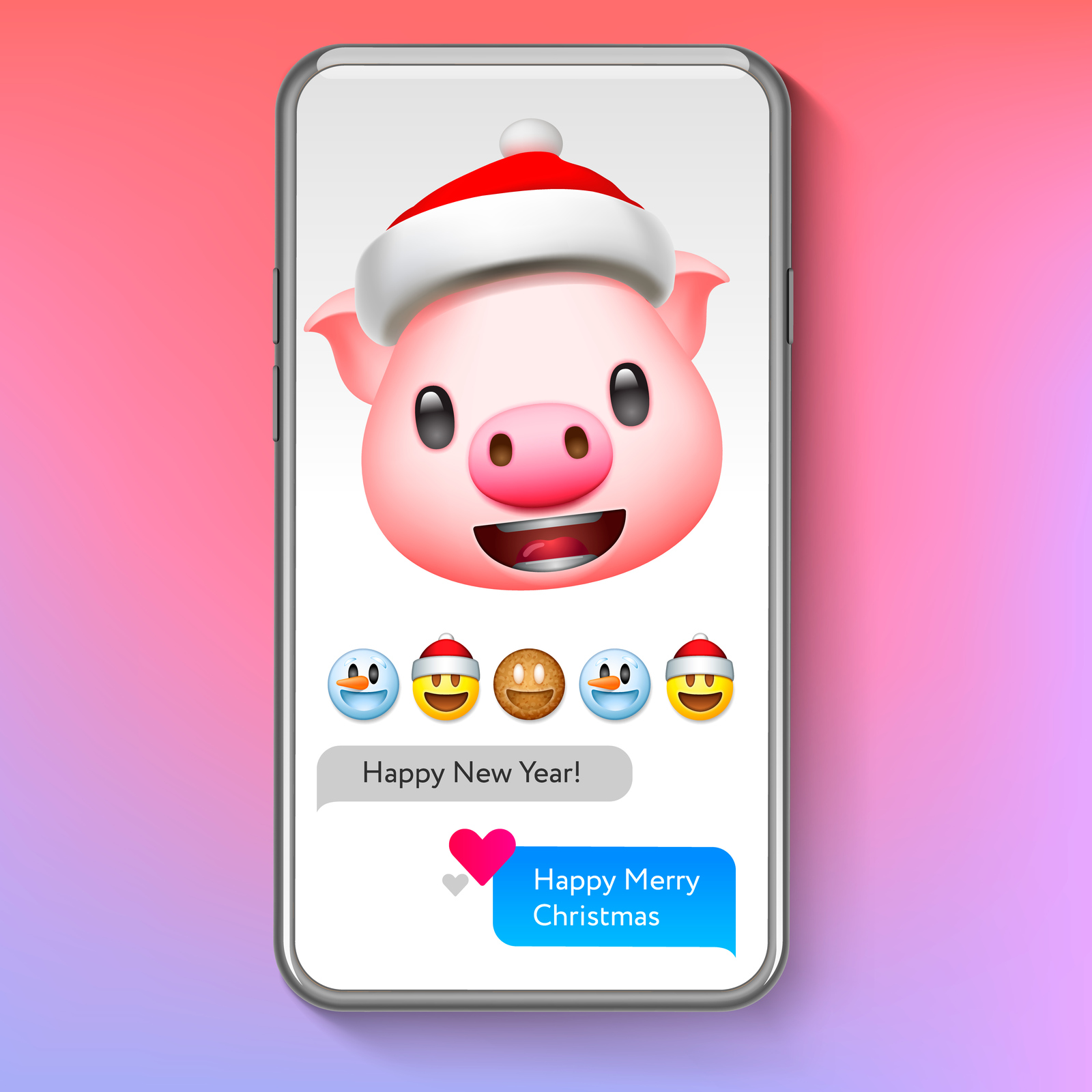 Christmas emoji, holiday smiley faces in Santa's hat, emoticon set