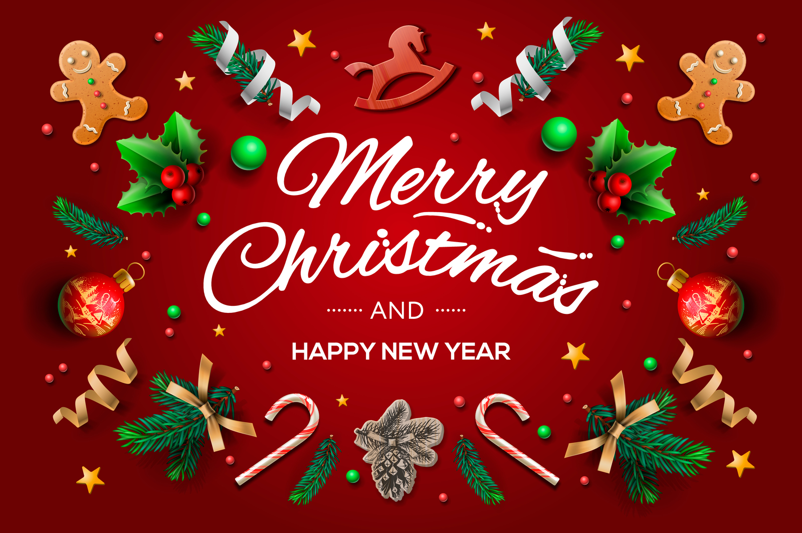 christmas greeting card with calligraphic season wishes in
