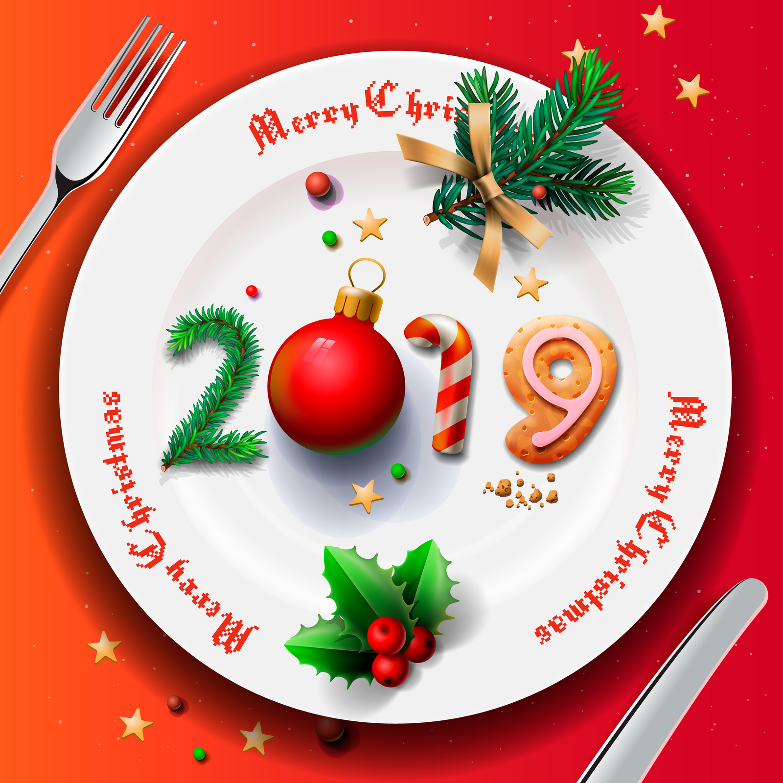 Merry Christmas 2019 social media templates, modern promotion web banners