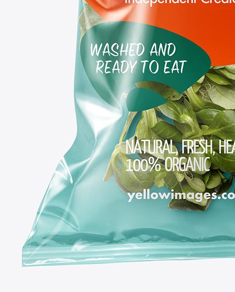 Plastic Bag With Corn Salad Mockup