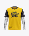 Men's Double-Layer Long Sleeve Knit T-Shirt Mockup - Front View