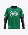 Men's Double-Layer Long Sleeve T-Shirt Mockup - Front View