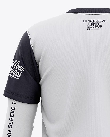 Men's Double-Layer Long Sleeve T-Shirt Mockup - Back View