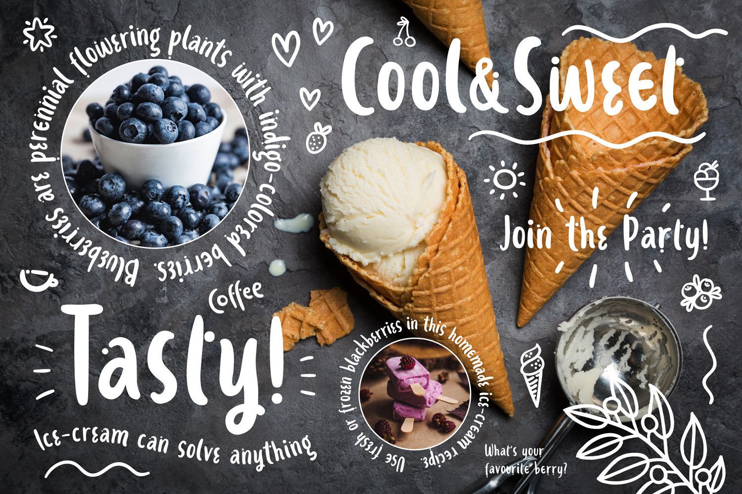 Ice-cream and Berries Font