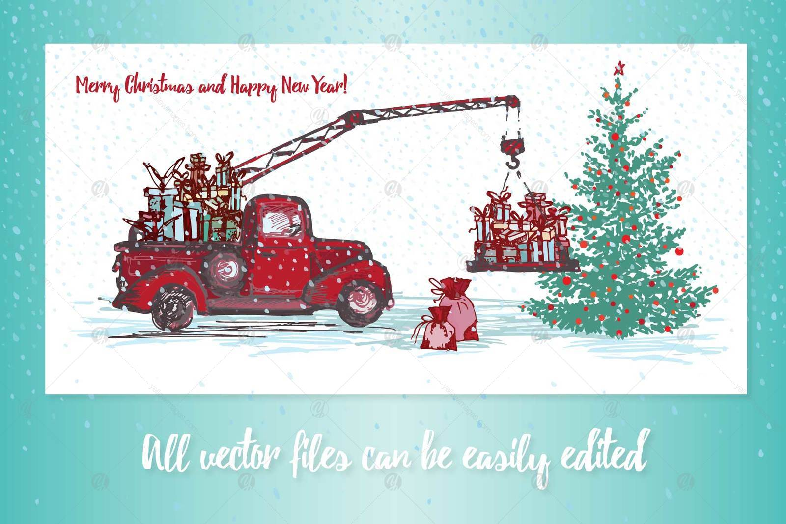 Set of Hand drawn sketch Christmas tree and vintage festive transport
