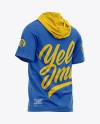 Men's Hooded T-shirt Mockup - Back Half-Side View