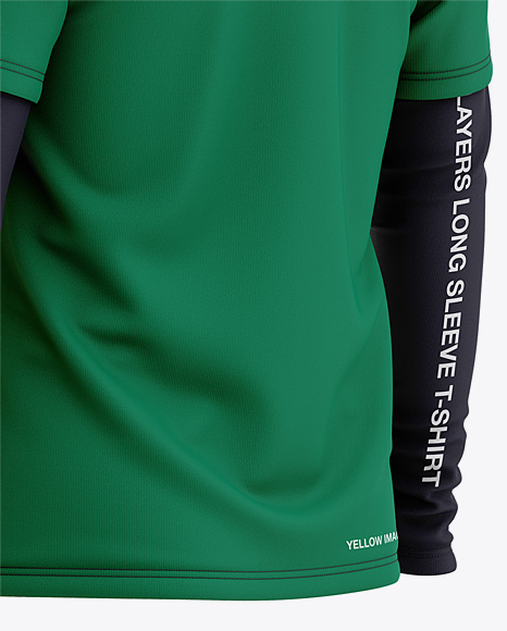 Men's Double-Layer Long Sleeve Knit T-Shirt Mockup - Back Half Side View