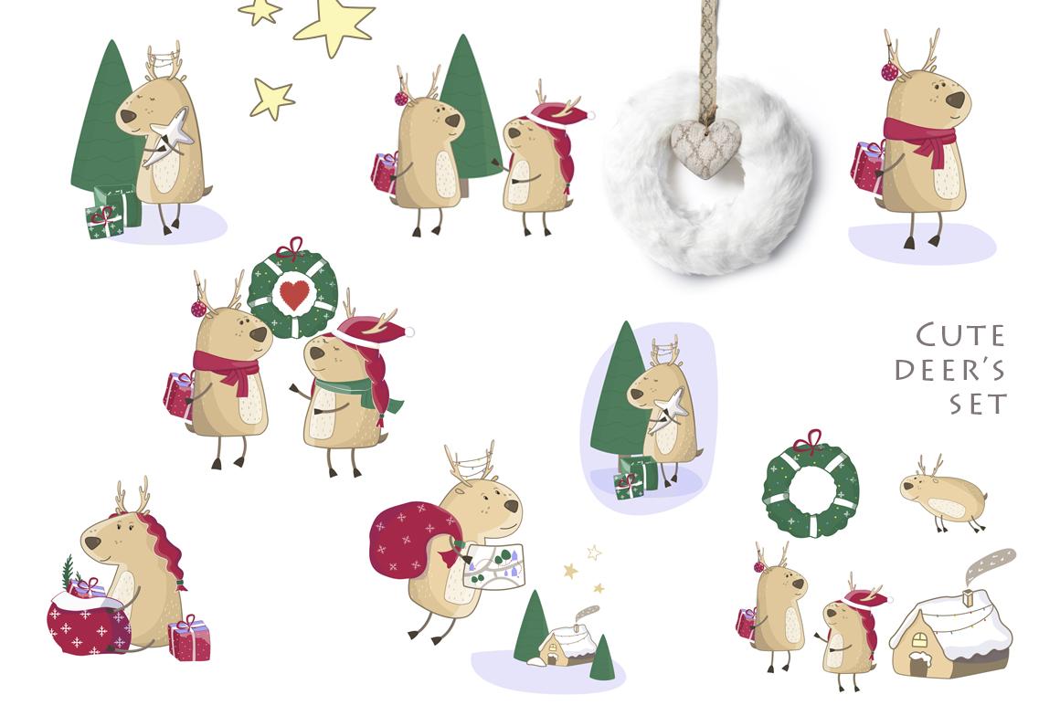 Little Christmas Cute Deer's Set