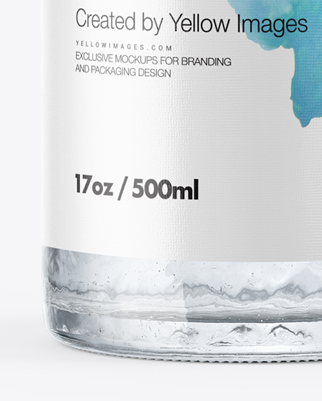 Glass Bottle with Water Mockup