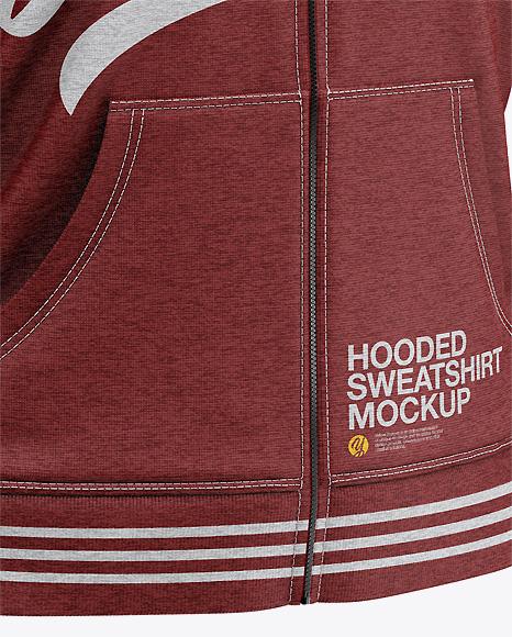 Men's Heather Full-Zip Hoodie Mockup - Half Side View