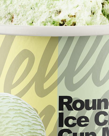 Paper Pistachio Ice Cream Cup Mockup