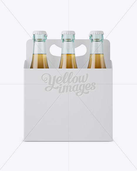 Download White Paper 6 Pack Beer Bottle Carrier Mockup Front View In Bottle Mockups On Yellow Images Object Mockups PSD Mockup Templates